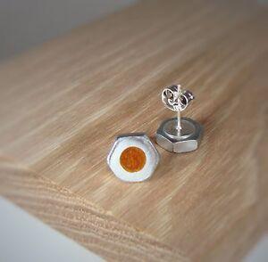 Aztec-Gold-Bronze-Pearl-Hex-Nut-Stud-Earrings-Acrylic-Inlay-Handmade