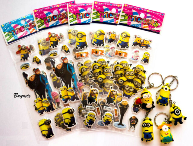 Despicable Me Party Bag Fillers, Minion Key Rings,Stickers,Children Stocking