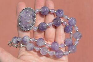 1930's Chinese Amethyst Carved Carving Shou Bead & Pendant Silver Necklace Mk