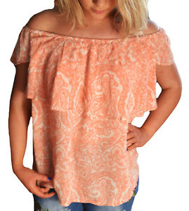 Ladies-Apricot-and-Ivory-Gypsy-Off-Shoulder-Ruffle-Stretch-Top-in-UK-Size-6-20