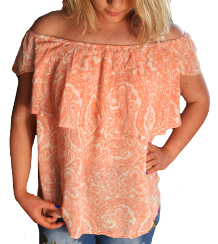 Ladies Apricot and Ivory Gypsy Off Shoulder Ruffle Stretch Top in UK Size 6-20