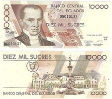 Ecuador 10000 Sucres 1999 P-127e.3 Series AP UNC Uncirculated Banknote