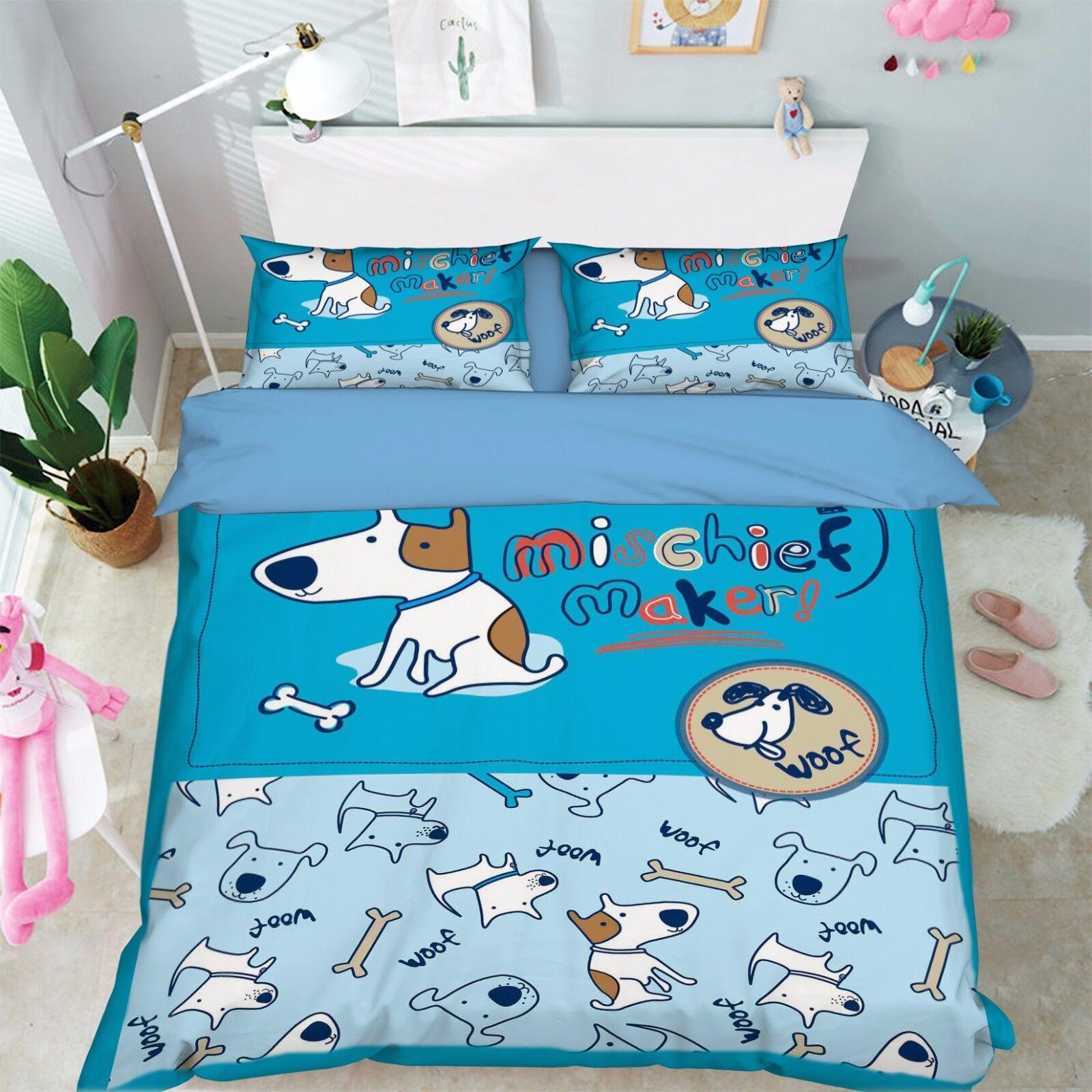 3D Animals Anime 96 Bed Pillowcases Quilt Duvet Cover Set Single Queen UK Summer