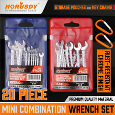 20pcs Combination Wrench Set Ignition Spanner Steel Tools Metric Sae Mini Small