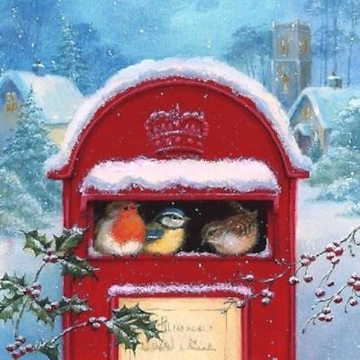 Merry Christmas post card Xmas -X99 4 Single paper decoupage napkins