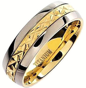 Plain TITANIUM High Polished RING BAND with Gold Plated Engraved Accent, size 13