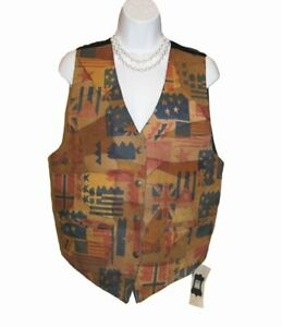 NEW LEATHER VEST Size M 6 8 Flags Stamped Pieced Button Front Multi Americana