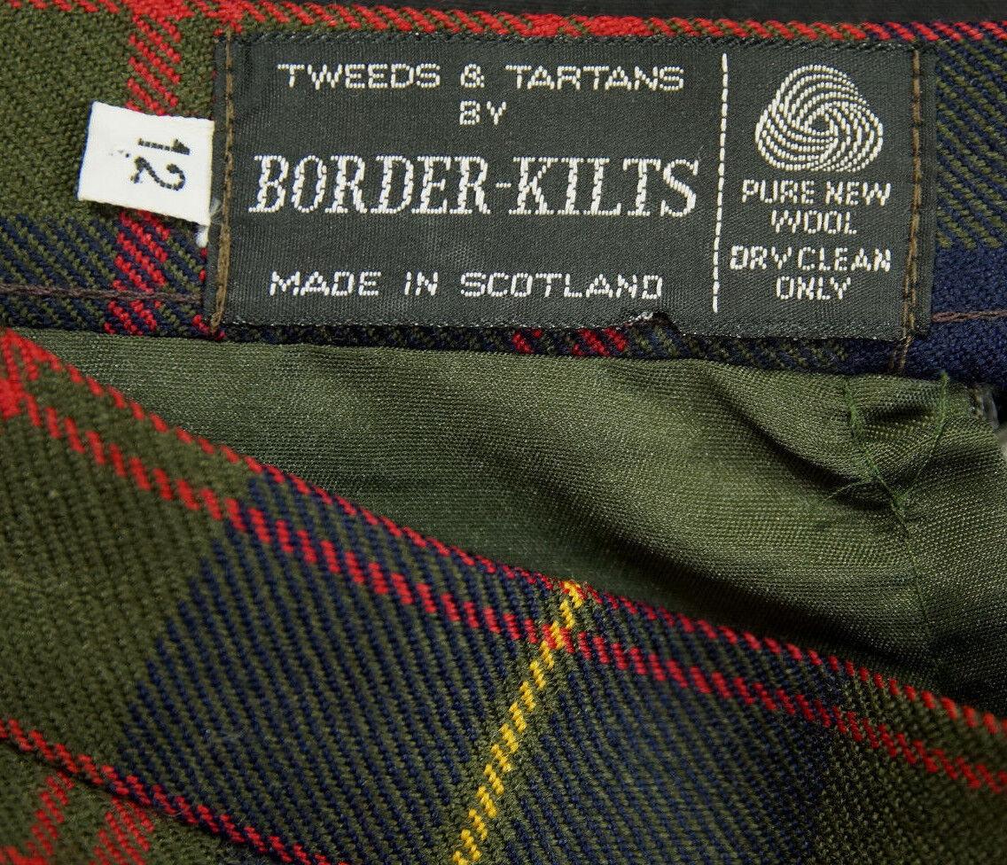 BORDER-KILTS Vintage Wool Tartan Kilt 27″W Plaid Long Skirt Pleated Hip Scottish