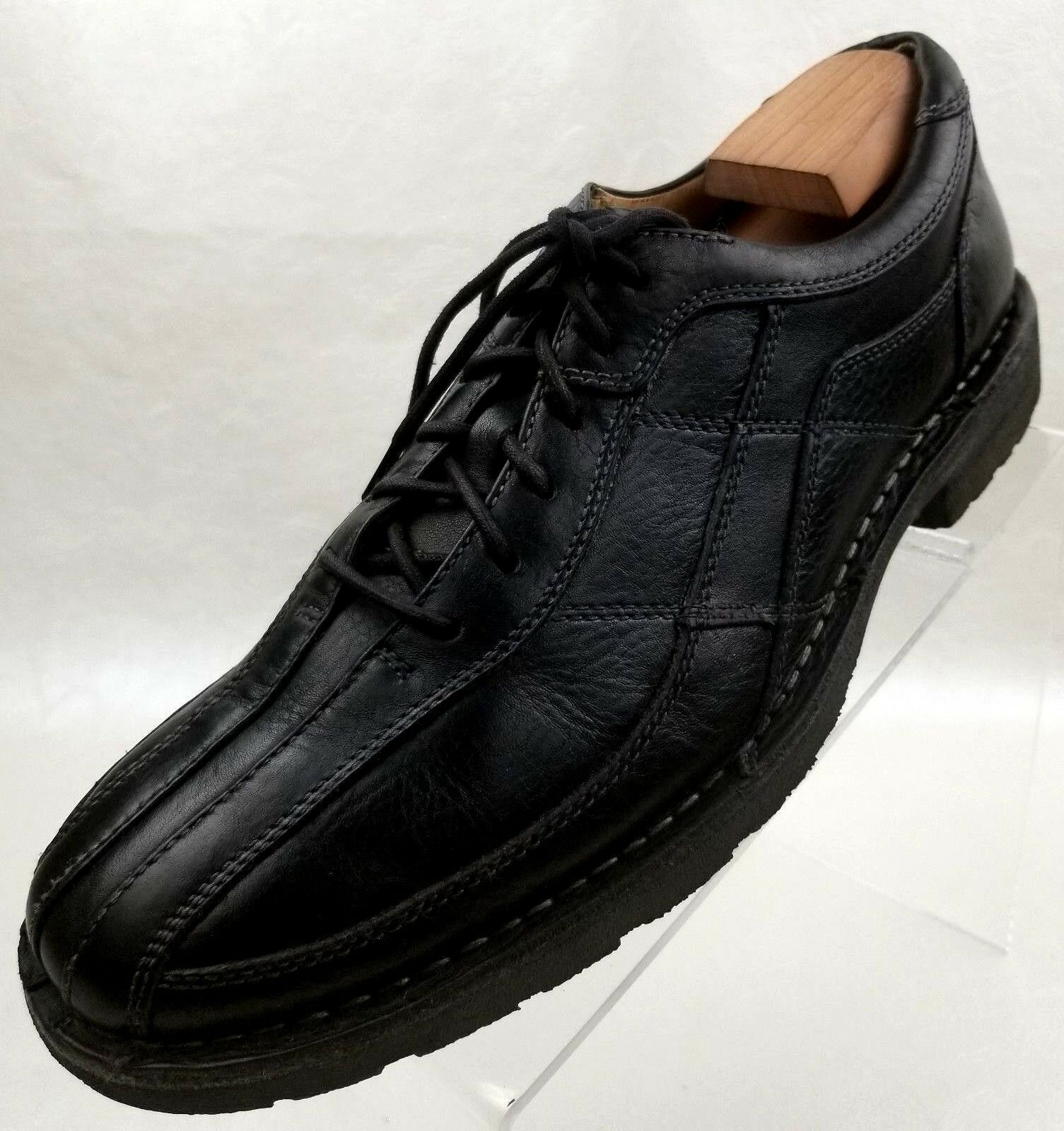 Ruhne Oxfords Bike Round Toe Men's Black Leather Lace Up shoes Size 9.5 MW