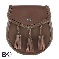 Casual, Brown Leather Kilt Sporran, Sporrans, W/ Adjustable Chain Belt 28 - 48