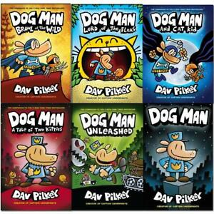 Dav-Pilkey-Adventures-of-Dog-Man-1-6-Books-Collection-Set-Brawl-of-the-Wild-NEW