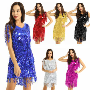 Women Sequin Latin Salsa Tanga Rumba Ballroom Competition Dance Dress Skirts US