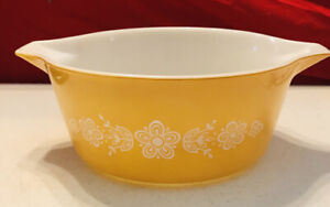 Pyrex Yellow Gold White Flowers Casserole Bowl 475B 2.5 Qt Mixing VGC Cinderella