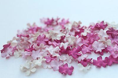 100 Mini Petals Pink Mulberry Paper Artificial Flowers Embellishment Scrapbook
