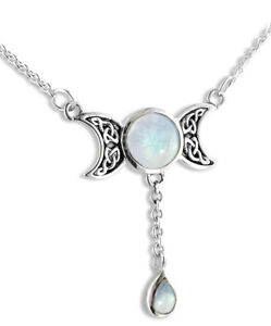 Sterling silver celtic moon phases moonstone necklace ebay image is loading sterling silver celtic moon phases moonstone necklace aloadofball Image collections