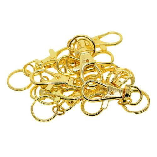 10PC Gold Tone Lobster Trigger Swivel Clasps Split for Keyring Hook Fob RING