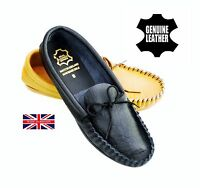 Mokks Mens Leather British Hand Made Black Tan Casual Moccasins Slippers Shoes