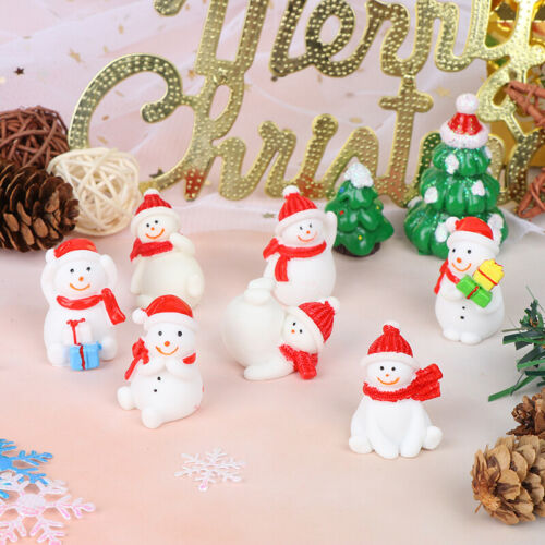 Christmas Snowman Santa Claus Trees gift Figurines Fairy Garden Miniatures Cr VQ