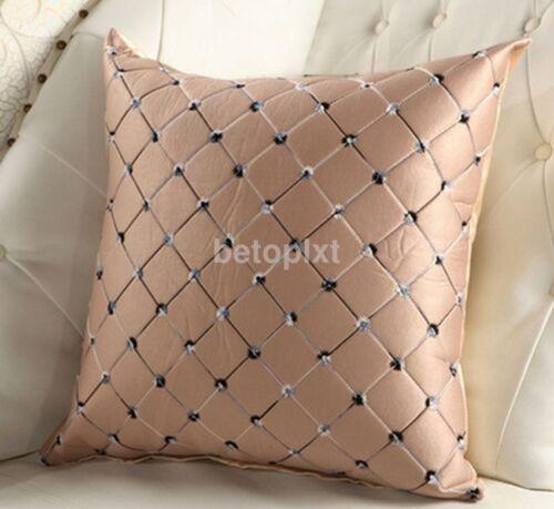 Home Sofa Bed Decor Multicolored Plaid Throw Pillow Case Square Cushion Cover FA