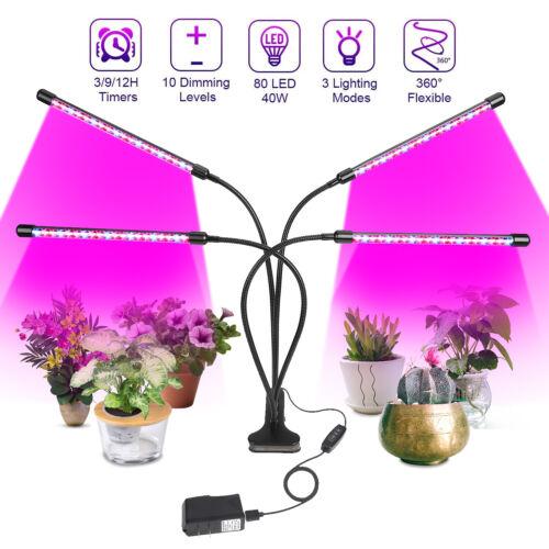 4 Head LED Plant Grow Light Lamp Bulb Full Spectrum for Indoor Plants /& Veg