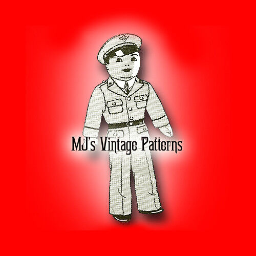 "Vintage Soldier Cloth Military Doll Pattern ~ 17/"" tall a 1940s Pattern"