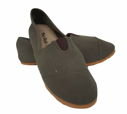 New Kids Boys Girls Canvas Slip On Shoes 3 Colors Gray Brown Pink Size 10-2