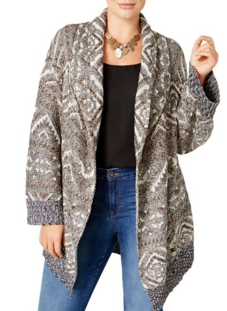 3fc1a3b2e4e Style   Co. Womens Plus Size Patterned Open Duster Cardigan 0x ...