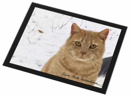 Ginger Cat 'Love You Grandma' Black Rim Glass Placemat Animal Table, AC116lygGP
