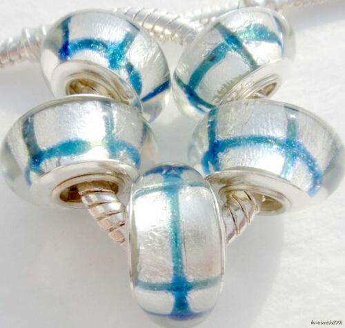 5PCS Silver Single Core Murano Lamp Glass Beads fit European Charm Bracelet A070