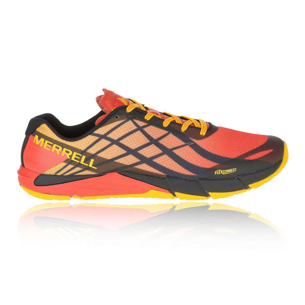 Merrell Hombre Bare Access Flex Sendero Correr Zapatos Zapatillas Rojo Amarillo