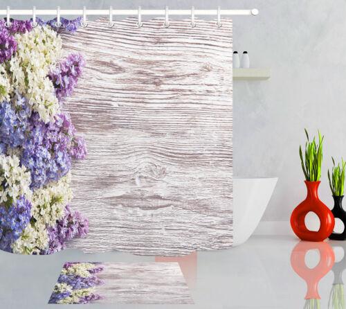 Lilas Fleur Bois Board Rideau de douche Liner salle de bains Tissu Imperméable Crochets