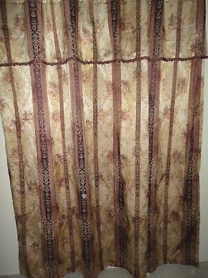 Croscill Newhill Deston Plum Stripe Fabric Shower Curtain Wvalance X New