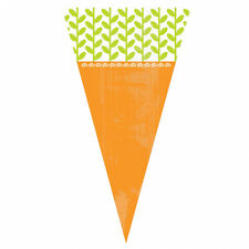 15 x Easter Egg Hunt Carrot Shaped Cone Cello Treat Bags & Twist Ties FREE P&P