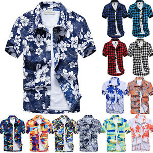Men-Short-Sleeve-Floral-Hawaiian-Shirt-Summer-Beach-Holiday-Casual-T-Shirts-Tops