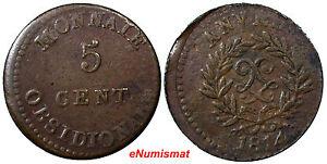 France-Anvers-Antwerp-Louis-XVIII-5-Centimes-1814-JLGN-aVF-RARE-KM-4-1-7110