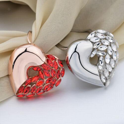 Élégant écharpe boucle anneau clip cristal coeur titulaire femmes dame bijoux