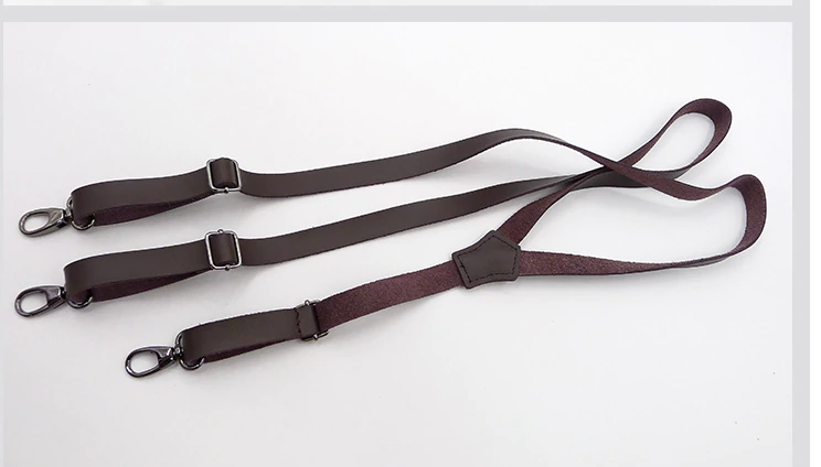 Innovative Leather Hook Suspenders Men Buckle Braces Black Brown Strap Accessory