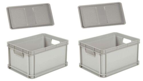 2 x robusto-BOX CON COPERCHIO 20 L GRIGIO PORTAOGGETTI BOX SCATOLA