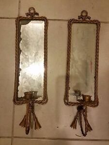 Vintage Antique Pair of Decorative Brass Beveled Mirrors Candle Holders