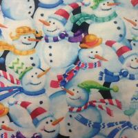 Snowman Crowd Quilting Fabric By The Yard - Q135