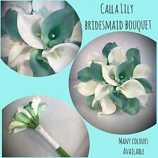 WEDDING FLOWERS REAL TOUCH CALLA LILY BRIDESMAID BOUQUET WHITE TEAL AQUA GREEN