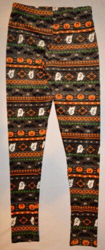 Women/'s No Boundaries Halloween Ghost Pumpkins Bats Gray Slip On Leggings Medium