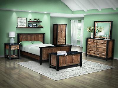 7 Pc Set Shaker Bedroom Set Panel Bed Solid Wood Usa Queen King Empire Ebay
