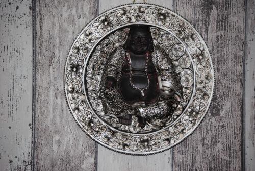 3 D Relief Happy Buddha Figur Wandrelief Bild Wandbild  20 cm Silber Schwarz