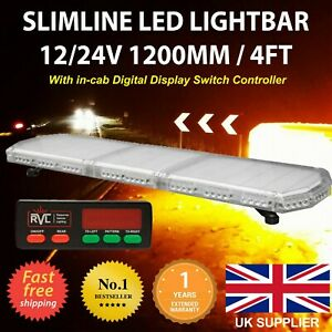LED Amber Light Bar Strobe Beacon Recovery Warning - 120cm 1200mm 1.2m 48""