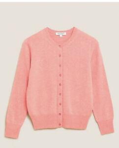 Marks & Spencer Pure Cashmere Crew Neck Cardigan Autograph Bubblegum Pink Size16