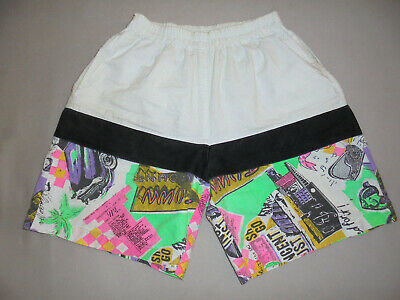 Rare True 80er Anni Vintage Shorts Oldschool Surf Neon Festival Pants 80`s L-