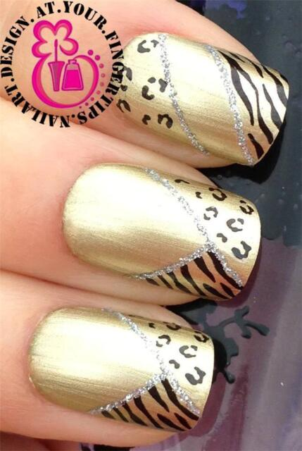 NAIL ART WATER TRANSFERS STICKERS DECALS LEOPARD TIGER ANIMAL PRINT TIPS #254