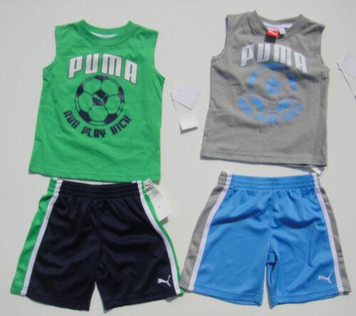 PUMA NWT Boy 2PC Set Tank Top Tee Shirt Shorts Play Soccer Cotton Polyester 2 2T
