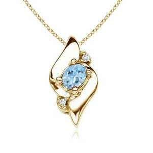 Oval-Best-AAA-Aquamarine-Diamond-Shell-Style-Pendant-with-18-034-Chain-Yellow-Gold